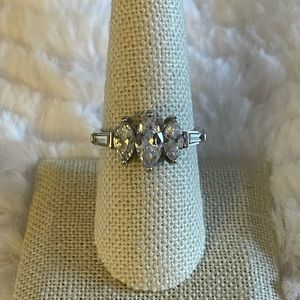 3 stone marquise silver ring size 9 Bella Luce